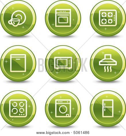 Home Appliances Web Icons, Green Glossy Circle Buttons Series