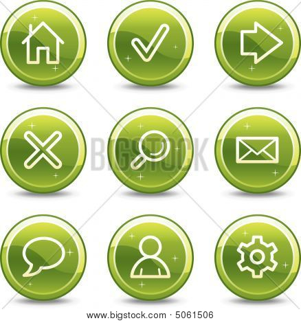 Basic Web Icons, Green Glossy Circle Buttons Series