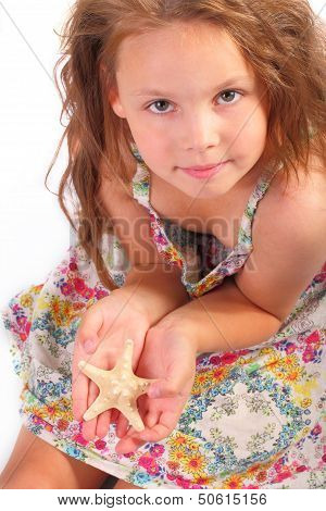 Pretty Little Girl With Starfish