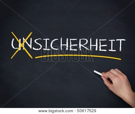 Hand crossing out the german word unsicherheit on a blackboard