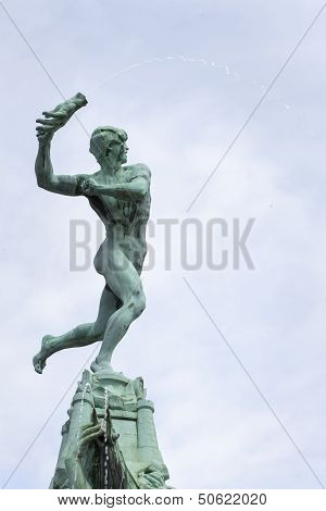 Brabo Fountain At Antwerp City Center