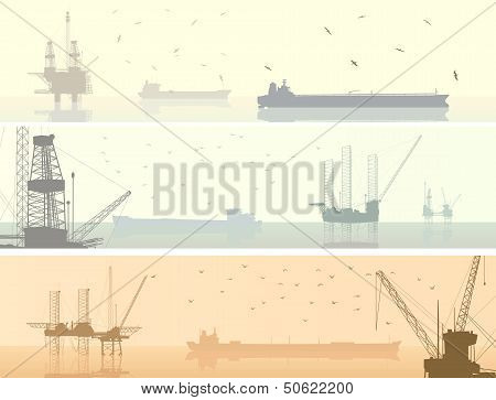Horizontal  Banners Of Units For Oil Industry.
