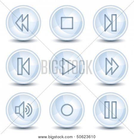 Walkman web icons, light blue glossy circle buttons