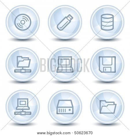 Drives and storage web icons, light blue glossy circle buttons