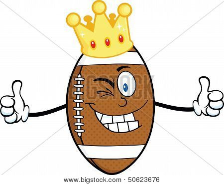 American Football Ball Character With Gold Crown Winking And Giving A Double Thumbs Up