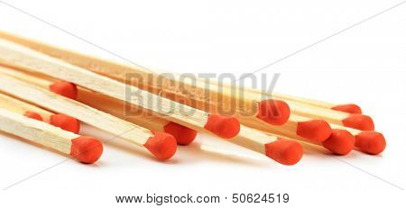 Long matches for fireplace, isolated on white