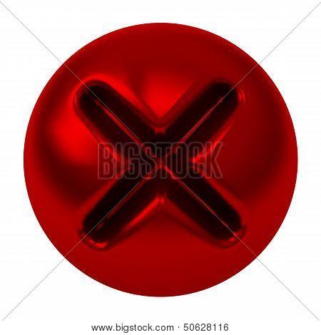Red cross mark button, 3d