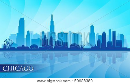 Chicago City Skyline Detailed Silhouette