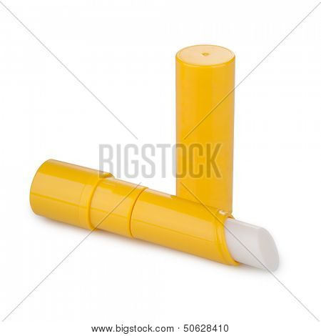 Lip balm with shadow isolated on white