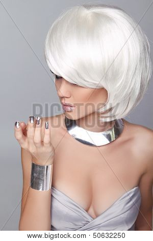 Fashion Blond Girl. Beauty Portrait Woman. White Short Hair. Isolated On Grey Background. Face Close