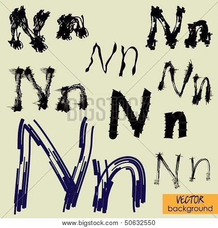 art sketch set of vector character fonts symbols, sign N