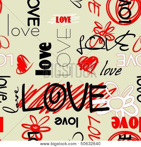 art graffiti vector seamless pattern, background with love, flowers and heart; red, black and white colors