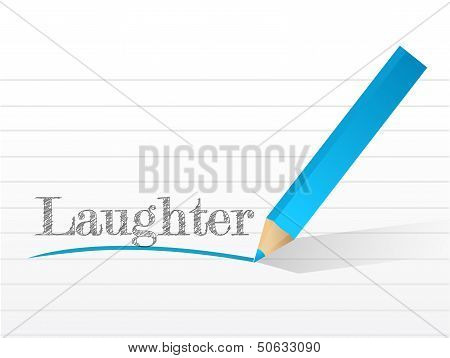 Laughter Written On A White Piece Of Notebook