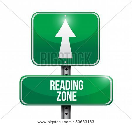 Reading Zone Road Sign Illustration Design