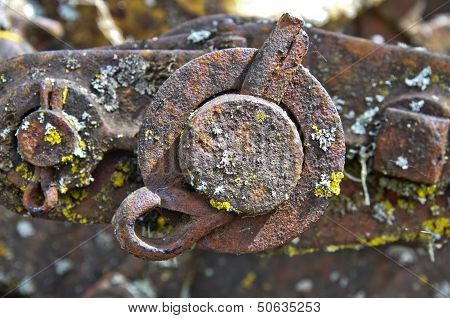 Machine parts from old farm equipment