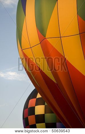 Close-up Of The Envelops Of Two Hot-air Balloons
