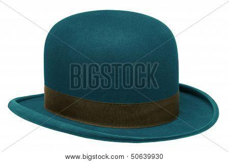 Blue Bowler Or Derby Hat