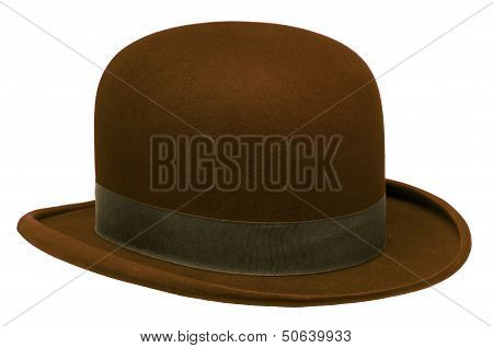 Brown Bowler Or Derby Hat