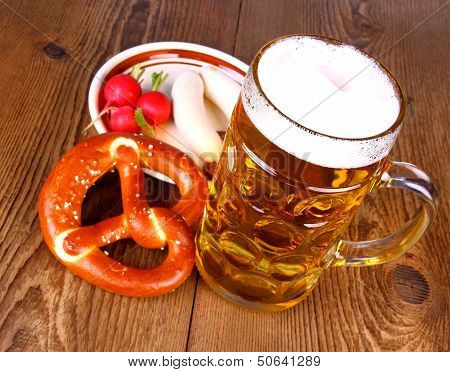 Beer With Pretzel, White Sausage And Radish