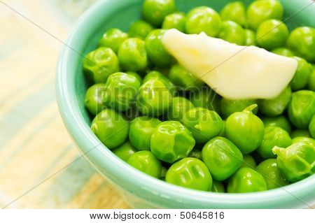 Cooked Organic Peas In A Bowl