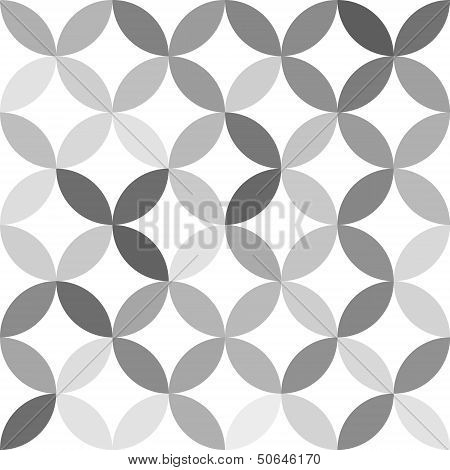 Gray overlapping circles abstract geometric seamless pattern on white, vector