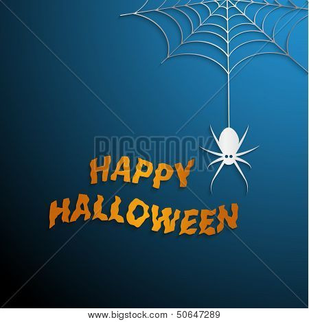 Halloween spider web with blue background
