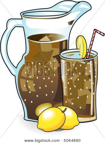 Iced Tea In Pitcher With Glass And Lemons