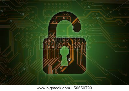 Open lock on circuit background