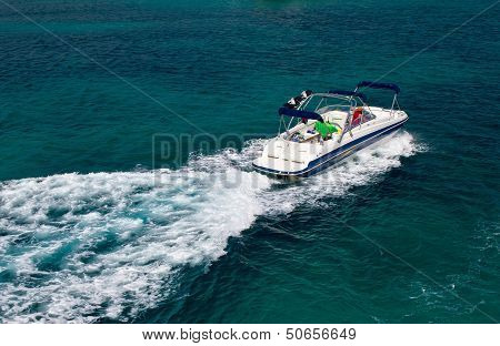 Powerboat On Blue Open Water