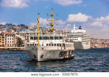 Ferryboat In Istanbul Turkey Transporting People