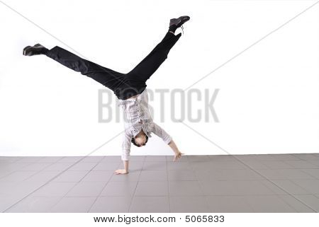 Business Woman Doing Cartwheel