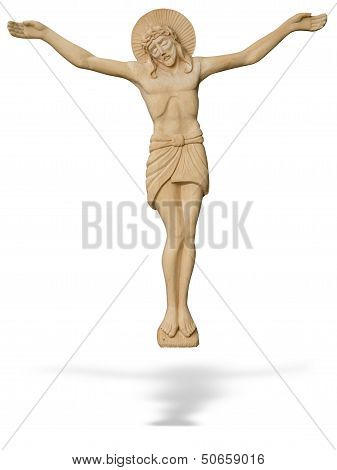 Wooden Statue Of The Crucified Jesus Christ Isolated Over White