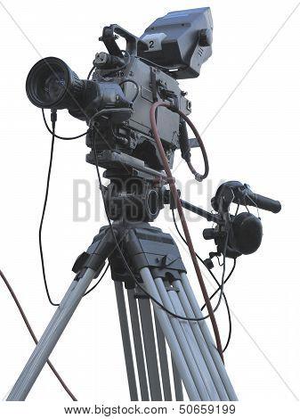 Tv Professional Studio Digital Video Camera On Tripod Isolated Over White