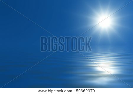 Bright sun on blue sky over the sea