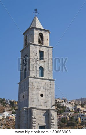 Clock Tower In Simi, Greece