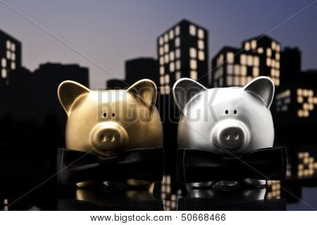 Metropolis City Gay Piggy Bank Civil Union