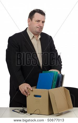 Laid off middle aged employee  in black suit