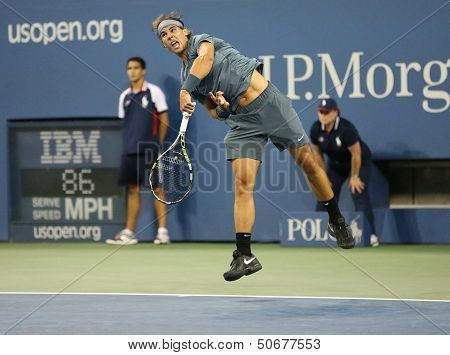 Twelve times Grand Slam champion Rafael Nadal during his second round match at US Open 2013