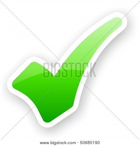 Sticker Of Green Glossy Check Mark