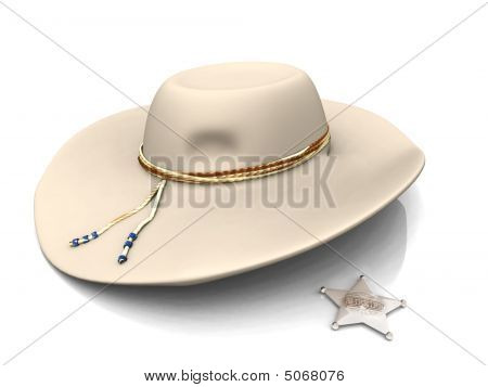 Sheriff's Hat And Sheriff's Star.