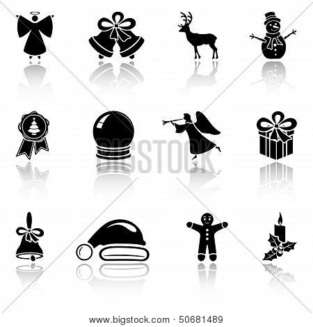 Set of black Christmas icons