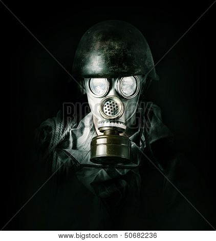 Environmental Protection. Man In Gas Mask