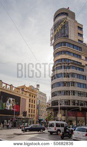 View Of Capitol Building And Callao Cinemas In Gran Via Street, In Madrid, Spain