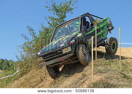 Small Suv Car At Difficult Terrain