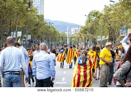 Catalan Way, Human Chain For Demanding The Independence Of Catalonia