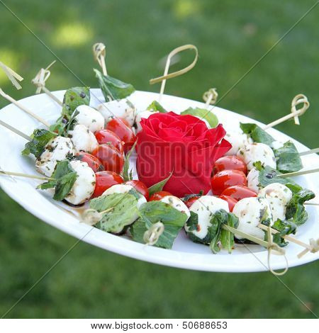 Caprese Skewer Appetizer with Red Rose