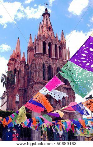 Famous La Parroquia church in San Miguel de Allende, Mexico