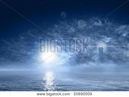 Beautiful Night Landscape Of Fantasy World