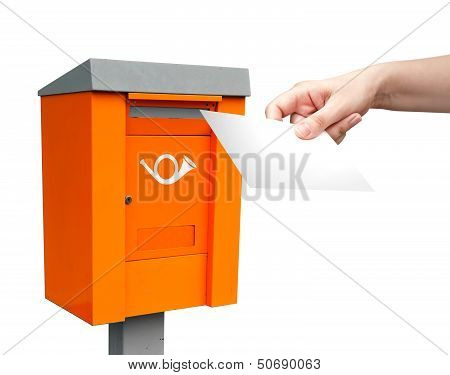 Orange Metal Post Box And Female Hand With White Letter