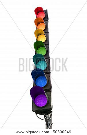 Seven-color Rainbow Traffic Light Concept Isolated On White